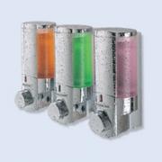 Aviva Dispensador de Cromo III con botellas translucidas